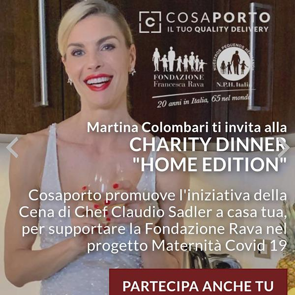 Charity Dinner...Home Edition! Con menu preparato dallo Chef Claudio Sadler e la consegna a domicilio di Cosaporto, ordina subito!
